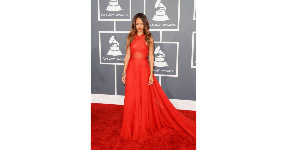 Grammys: 2. Rihanna In Azzedine Alaia At The Grammy Awards