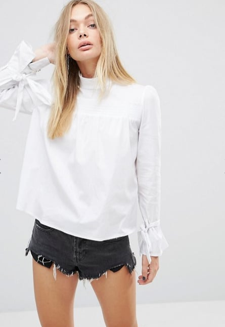 Glamorous High Neck Smock Top With Ribbon Tie Cuffs ($60)  Discount: For 30% off enter FRENZYGO at checkout.