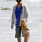 Joel Madden and Harlow dipped their toes in the water in Malibu.