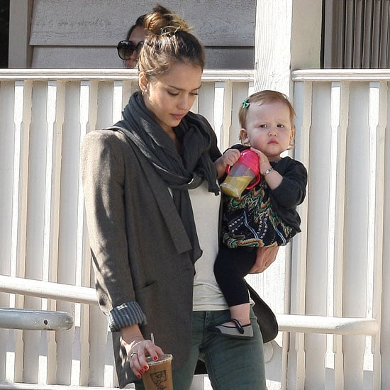 Jessica Alba Wearing Cropped Green Jeans