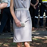 Kate favored her pale gray Alexander McQueen for a trip to Uluru in 2014.