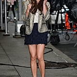 Lea arrived for a 2012 appearance on The Late Show in a Jenni Kayne miniskirt, Zadig & Voltaire jacket, and Jimmy Choo booties. . .