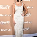 The British star opted for a more classic dress shape when she attended Variety's second annual Hitmakers Brunch in Los Angeles.