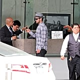 Justin Timberlake waited for his car at the valet stand.
