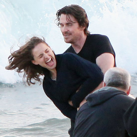 Natalie Portman Beach Pictures With Christian Bale on Set