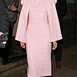 Suki was a vision in pink when she hit the town during London Fashion Week in February 2014 wearing a Ralph & Russo ensemble.