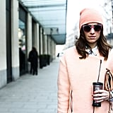 This woman's gorgeous pink lipstick hue provided a cohesive way to accentuate her outfit.