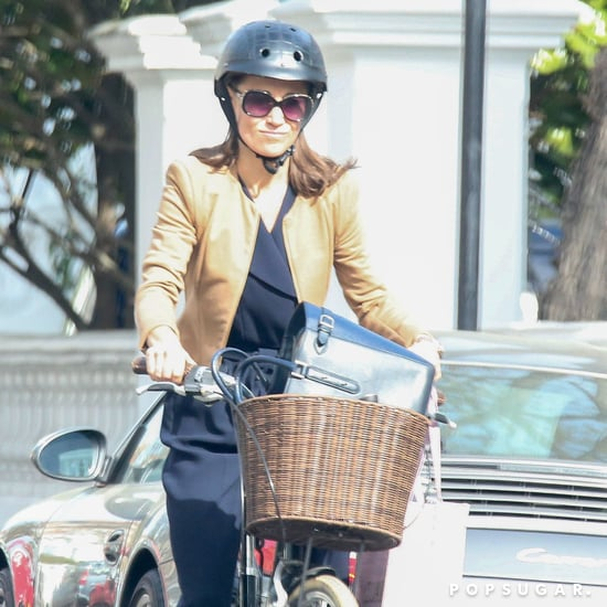 Pippa Middleton Black Jumpsuit Riding a Bike