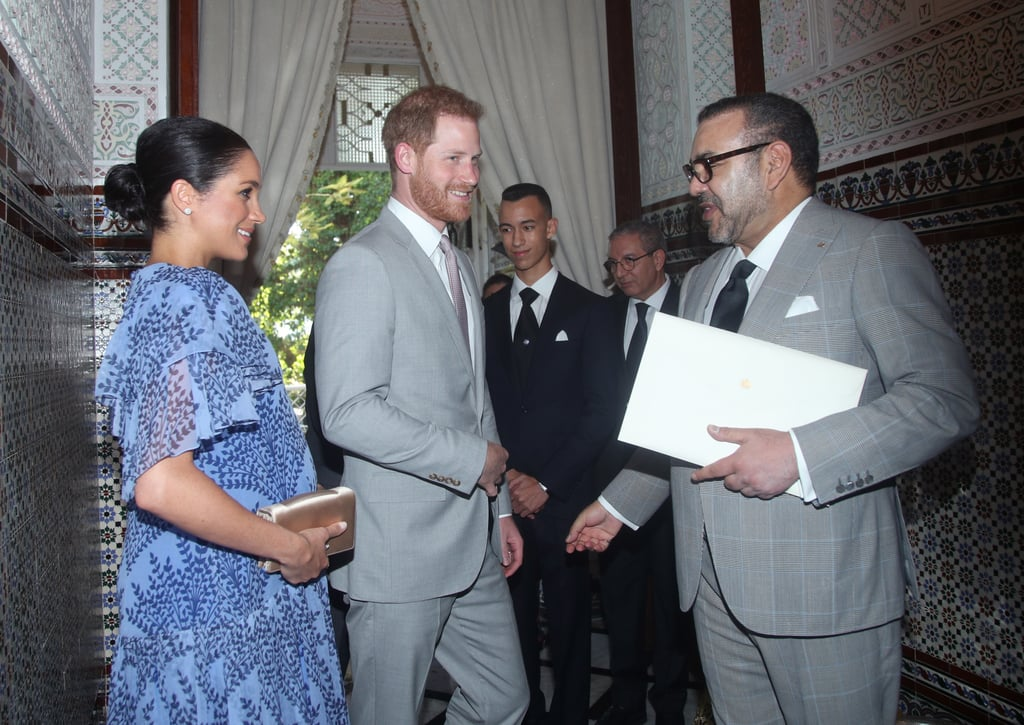 Even though it feels like Prince Harry and Meghan Markle's royal tour of Morocco just began, the royal couple stepped out for their final engagement on Monday. After getting friendly with horses and eating some of the country's traditional foods, Harry and Meghan concluded their visit by meeting with King Mohammed VI of Morocco at his royal residence in Rabat. Meghan switched up her look and opted for a beautiful blue dress, while Harry donned a gray suit for the affair. During their visit, the pair presented the king with letters from Queen Elizabeth II.  Harry and Meghan officially kicked off their three-day tour of Morocco on Saturday, and it's resulted in some pretty special moments. From attending a glamorous Moroccan banquet to Meghan impressing students with her French, this trip was definitely one for the books! Now Harry and Meghan get to return home and prepare for the upcoming arrival of their little one!       Related:                                                                                                           Harry and Meghan Met the Cutest Little Girls in Morocco — and Got Invited to Their Birthday Party