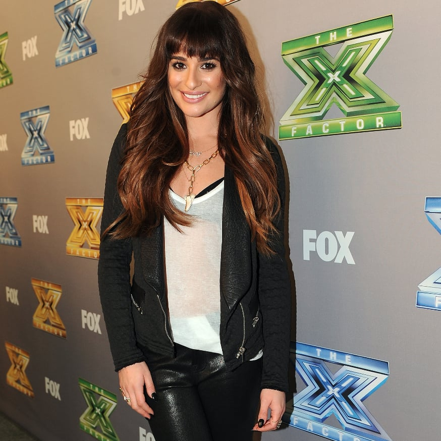 Lea Michele in Black Bra and White T-Shirt on The X Factor