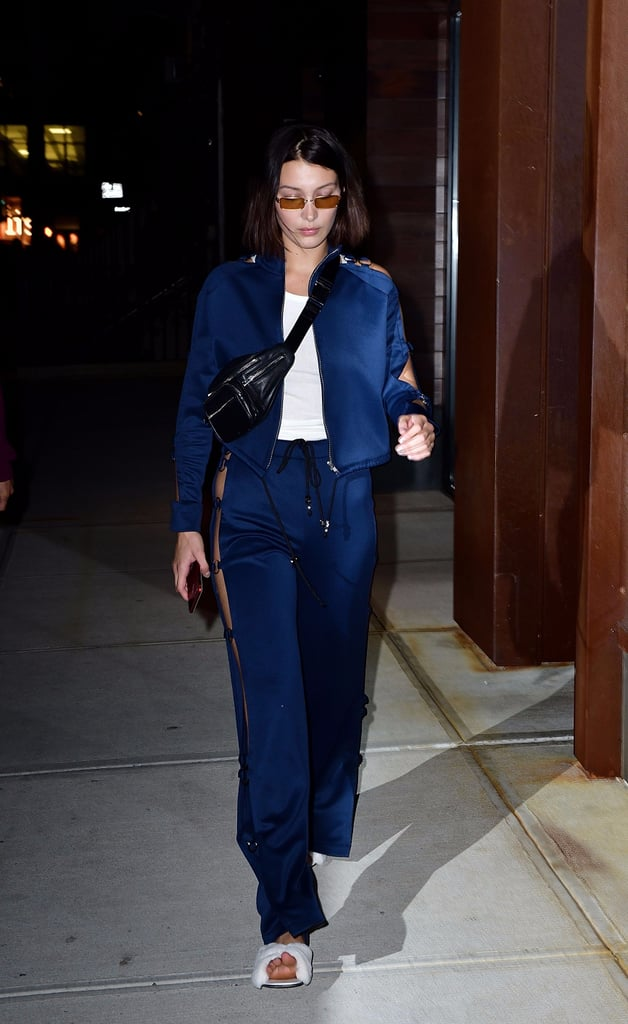Bella Hadid in Lace-Up Pants at Fashion Week Spring 2018