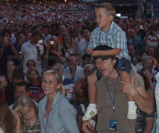 Slide Photo of Reese, Jake and the Kids at Elton John and Billy Joel Concert