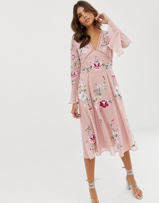 1d58d6bc57b ASOS Design Embroidered Midi Dress