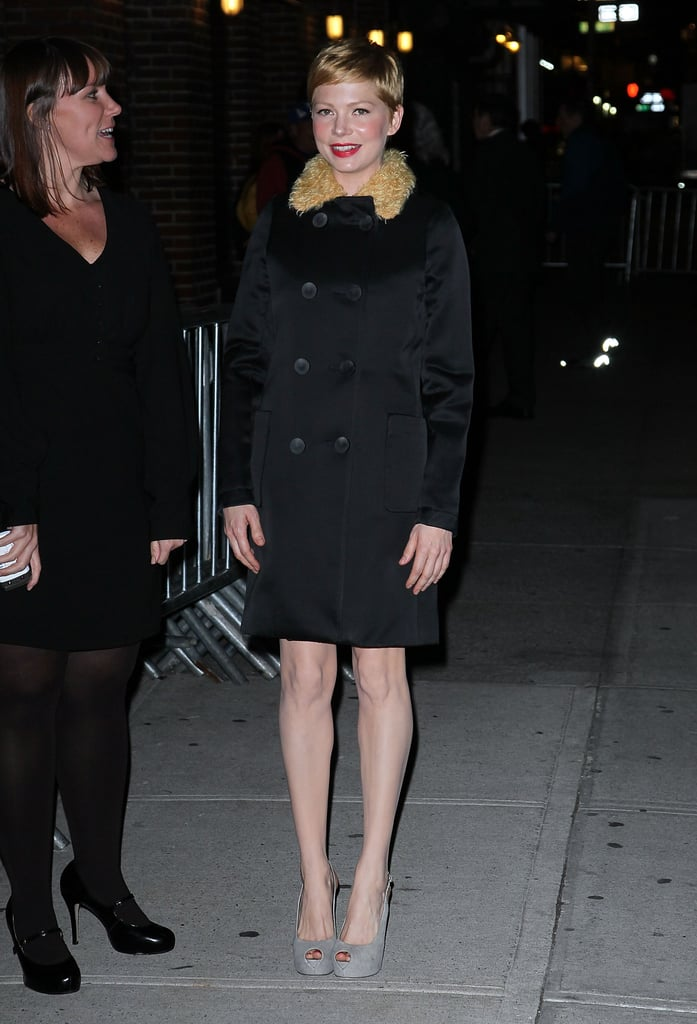 Michelle Williams arrived for Late Show With David Letterman in NYC.