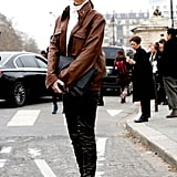 Black and brown leather added up to a slick bit of street style.