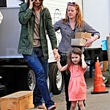 Photos of Suri Cruise and Katie Holmes on Set
