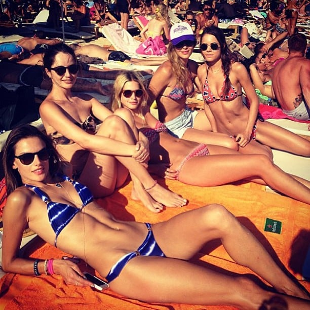 Models Alessandra Ambrosio and Ana Beatriz relaxed by the pool in bikinis with a group of gorgeous friends. Source: Instagram user alessandraambrosio
