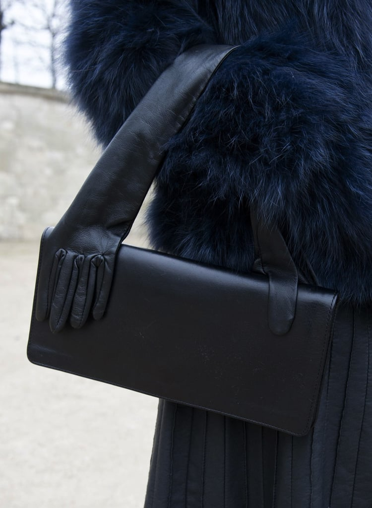 This black bag featured a leather gloved handle — so fun!