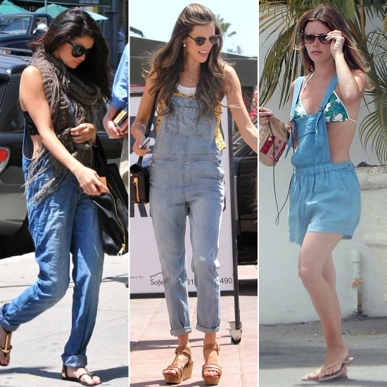 celebrities wearing overalls pictures popsugar fashion