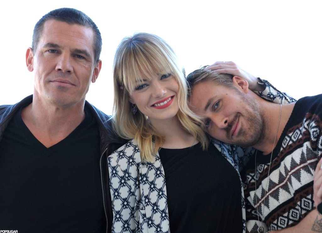 It was a reunion Saturday for the cast of Gangster Squad in LA, with stars Emma Stone, Ryan Gosling, and Josh Brolin teaming up for an afternoon of press and pictures. The film, directed by Ruben Fleischer, is out in less than a month on Jan. 11. Ruben also hung out with Emma, Ryan, and Josh to chat up the picture at the Four Seasons Hotel in Beverly Hills. That release date was pushed back from an original plan to put Gangster Squad in theaters this Fall. However, owing to reshoots, the actors rearranged their schedules to do promotion now. Ryan and Emma got playful during their time before the lens. They grew close while working on 2011's Crazy, Stupid, Love., and apparently jumped at the chance to make another movie together.