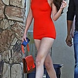 Selena Gomez showed skin on the set in Palmdale, CA, on Monday.