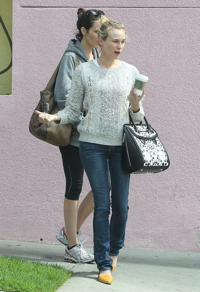 Diane Kruger carried a cup of coffee in LA.