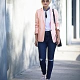 Casual Cool With a Pink Blazer and Sneakers