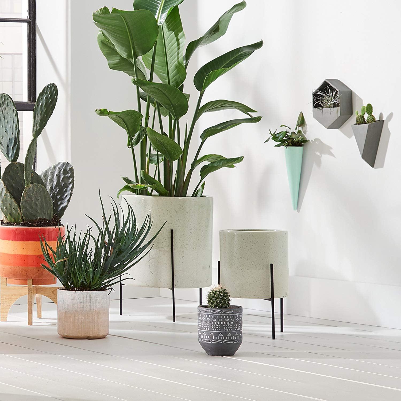 Rivet Mid Century Modern Ceramic Indoor Outdoor Planter