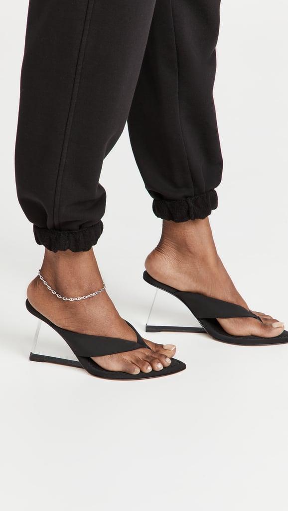 A Modern Wedge: Good American Clear Block Heel Thong Sandals