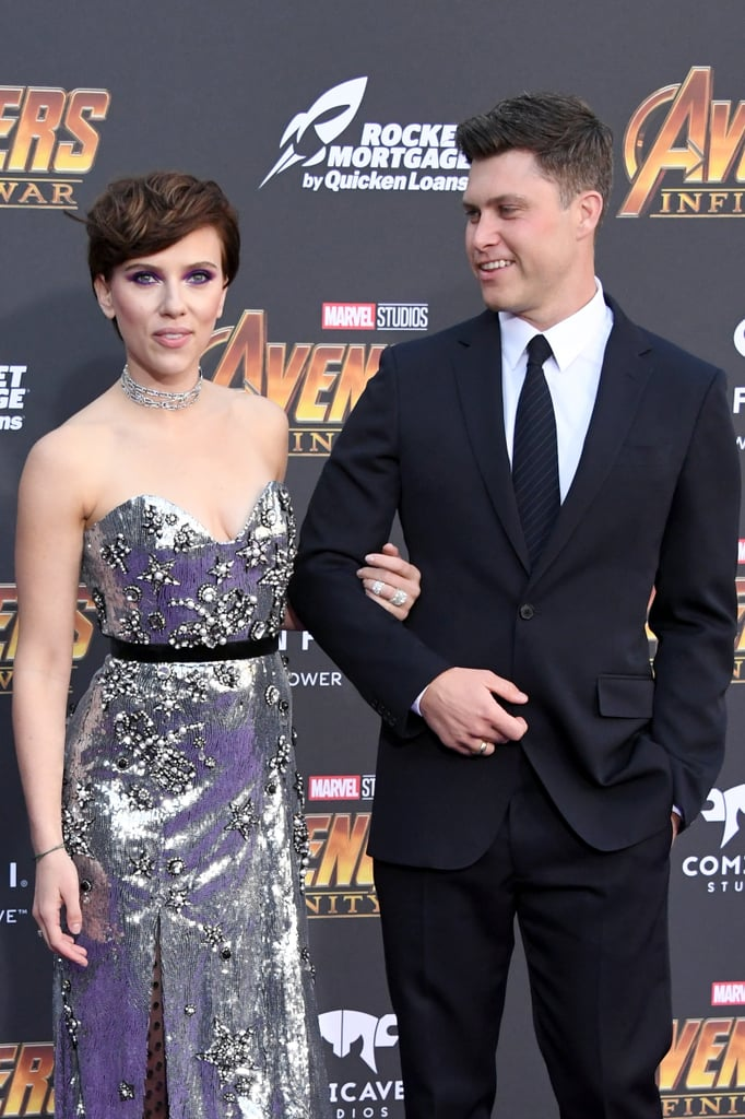 Scarlett Johansson and Colin Jost at Avengers Premiere 2018