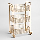 Gold Wire Basket 3-Tier Antonia Rolling Cart