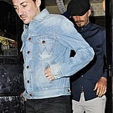 David Beckham spent time with friends at a pub in London.