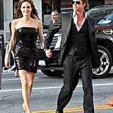 Brad Pitt held onto Angelina Jolie's hand arriving at her July 2010 LA premiere of Salt.
