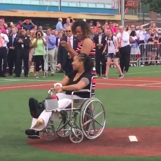Crystal Griner Throws First Pitch at Softball Game
