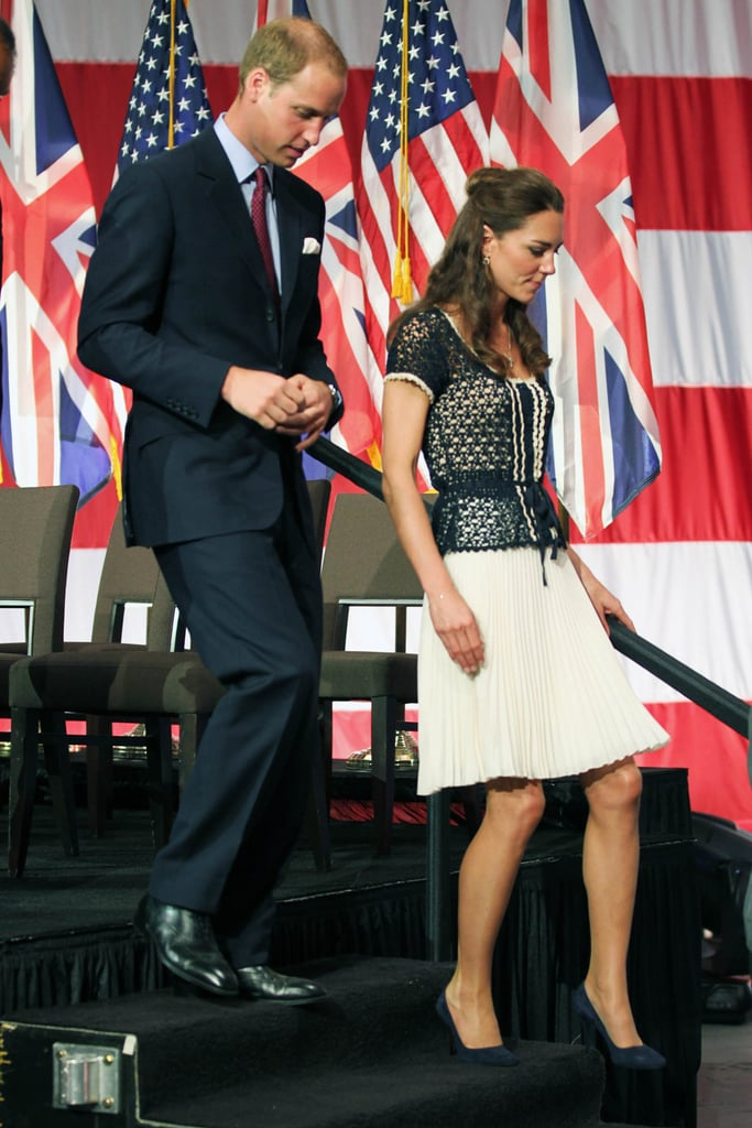 """The Duke and Duchess of Cambridge participated in ServiceNation: Mission Serve's hiring fair for veterans and military spouses at Sony Pictures Studios in LA this afternoon. The royal couple helped create 1,000 care packages for the sons and daughters of soon-to-be-deployed servicemen and women and showed further support at a special reception for champions of the cause. William, who is an officer in the Royal Air Force, shared a few remarks about why the organization is close to his heart, and also thanked California for receiving him and his wife with such a warm welcome. He also took the opportunity to fit in a good-natured jab at Prince Harry, referring to him as his """"low-flying"""" Apache pilot brother. Earlier this morning Kate and William attended a private event for Tusk's US Patron's Circle in Beverly Hills, where they chatted with Reese Witherspoon. It's been a jam-packed trip to the West Coast for Kate and William, who landed in California Friday and spent yesterday in Santa Barbara. Last night, they got glamorous for the BAFTA Brits to Watch dinner and mingled with A-list stars like Tom Hanks, Jennifer Garner, and Nicole Kidman. Nicole, along with Barbra Streisand and James Brolin, was one of the lucky attendees seated at William and Kate's table during the dinner. William and Kate wrapped up their LA tour and headed back to the UK on a commercial flight following today's service event. Stay tuned for tomorrow's PopSugar Rush to see our coverage from the job fair, where we were on the scene, and to watch part of Prince William's speech!"""