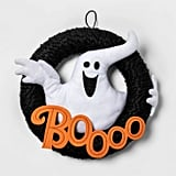 Boo Ghost Fabric Yarn Wreath