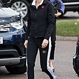 Kate made trackpants look cool with gel platform sneakers in 2017 at the Lawn Tennis Association.