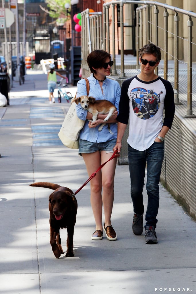 Anne Hathaway and her husband, Adam Shulman, walked around with their new dog in Brooklyn, NY, on Sunday.