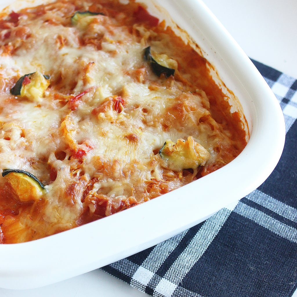 "Monday: Gluten-Free Cheesy Veggie ""Pasta"" Bake"