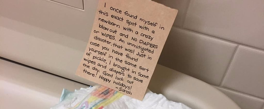 """بعد أن مرّت """"بكارثة حقيقية""""، أمٌ تترك حفاضات نظيفة للغرباء في الحمّامات العامة لمتجرHomeGoods"""