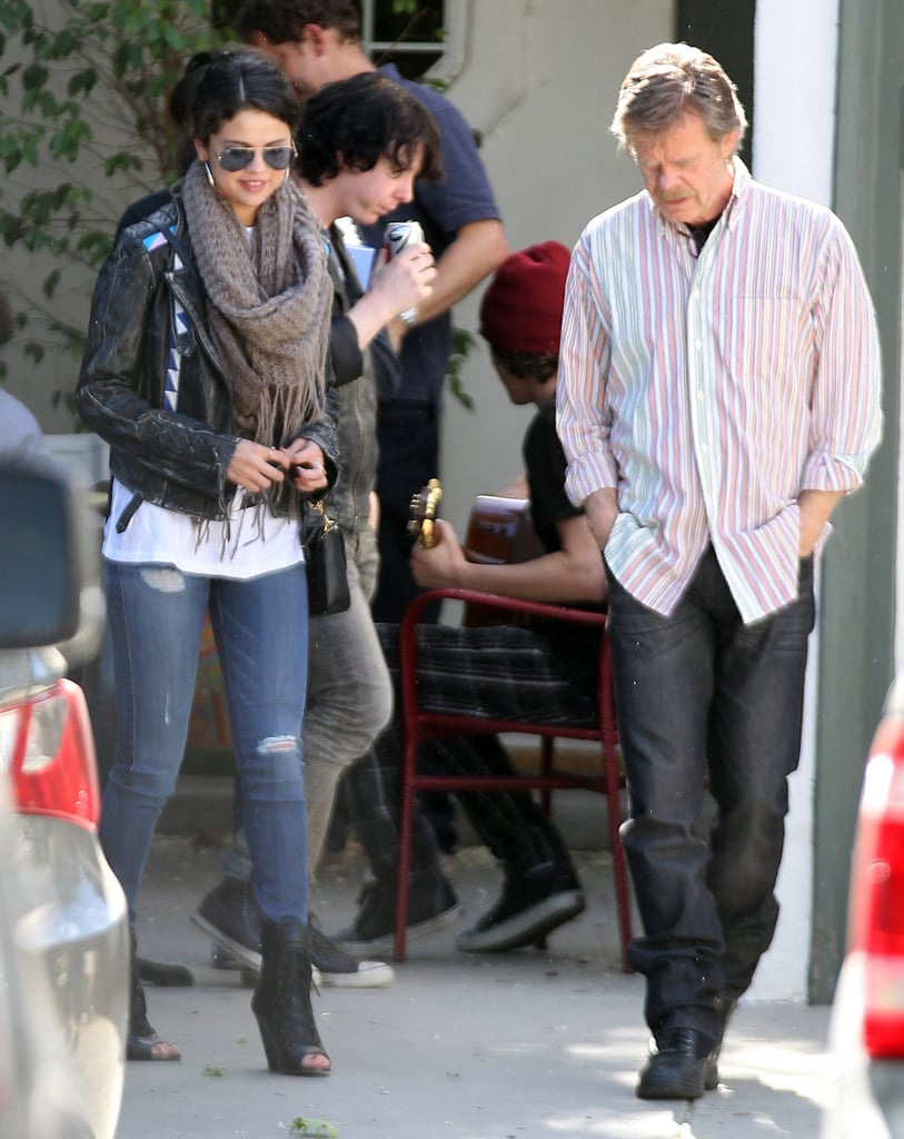 "Selena Gomez visited with William H. Macy in Sherman Oaks, CA, yesterday. The pair's meeting was most likely work-related, as it was just announced that Selena will star in Rudderless, William's directorial debut, alongside Billy Crudup and Felicity Huffman. This marks her first big role since Spring Breakers premiered in March.  Film isn't the only area that Selena is currently keeping busy in, since she recently dropped her new single, ""Come and Get It,"" on Monday. She gave listeners a sneak peek of the new song on Ryan Seacrest's radio show on Friday, and the fan fervor was so strong that Ryan's site was temporarily crashed due to so much traffic."