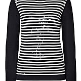 We love the shimmery finish on Steffen Schraut's black and cream sequin and stripe pullover ($310).
