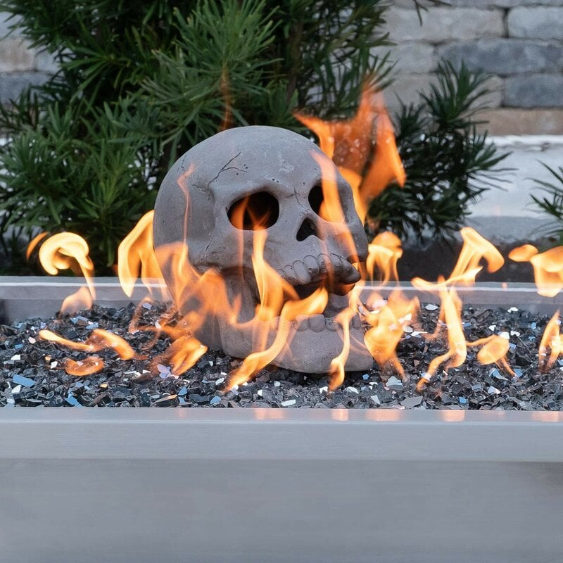 Human Skull Ceramic Decorative Log
