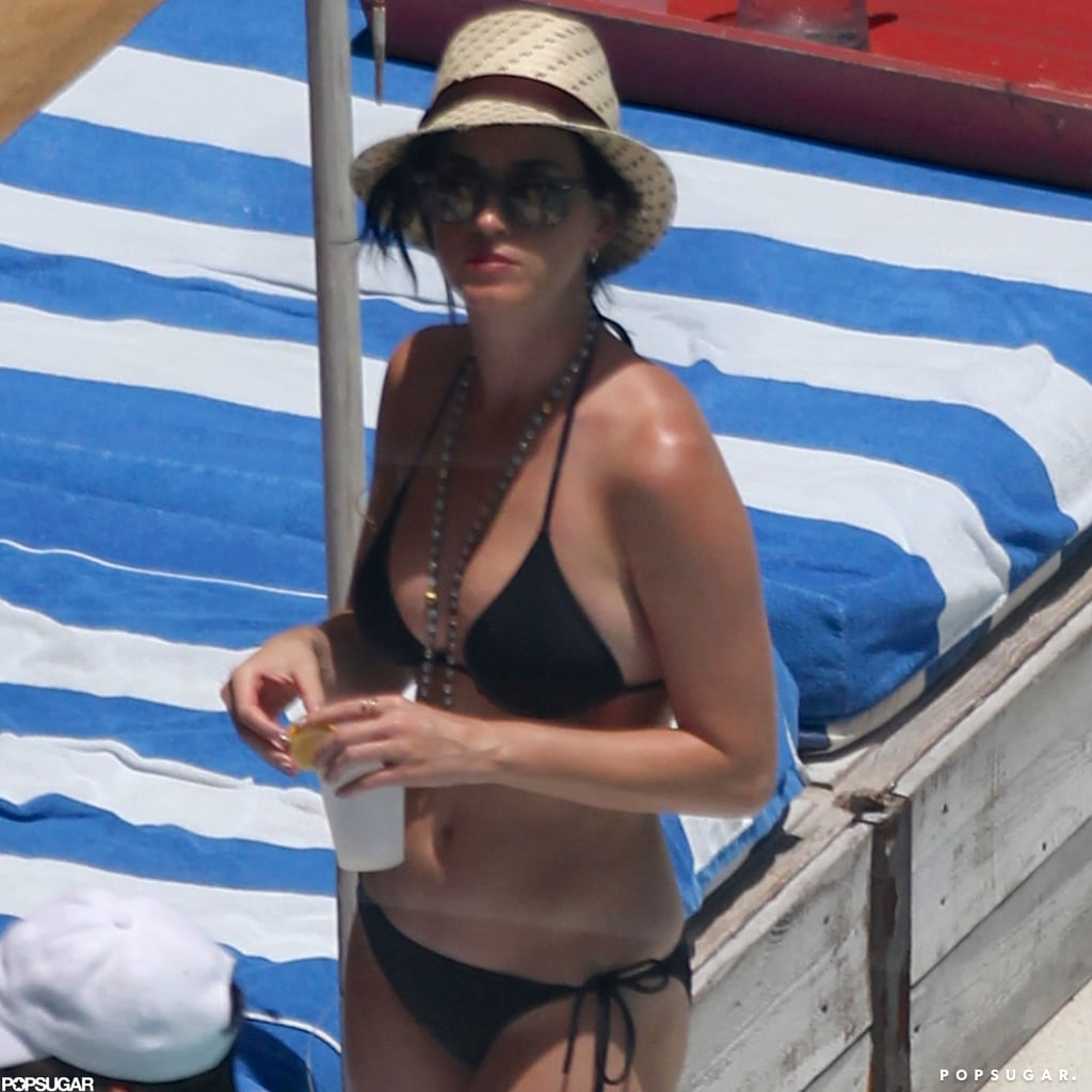 Katy Perry wore a black bikini in Miami.