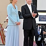 Princess Charlene of Monaco and Prince Albert II of Monaco stand with Georges Marsan, mayor of Monaco, after their civil ceremony.