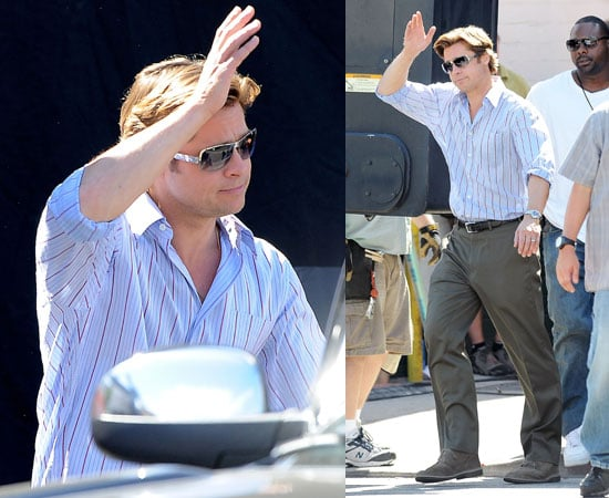 Pictures of Brad Pitt Waving on Moneyball Set After Play Date With Zahara and Chris Cornell