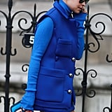 Miroslava Duma outfitted her bright blue coat with another helping of bold color on her Pierre Hardy bag.  Source: Tim Regas