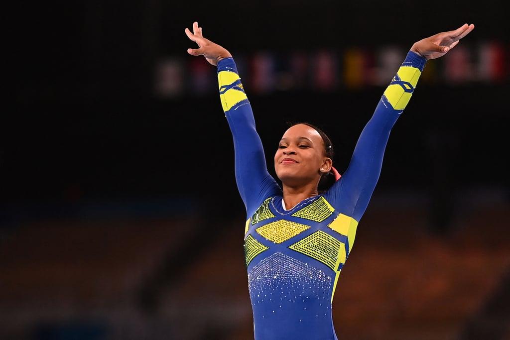 Rebeca Andrade on Balance Beam at the Tokyo Olympics Women's Gymnastics All-Around Final