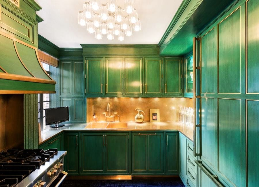 The Cook S Kitchen Contrasts Emerald Green Cabinets And