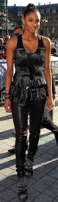 Ciara in Leather Barbara Bui Vest, Pants, and Shoes